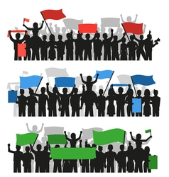 Protesting People Crowd Banners vector