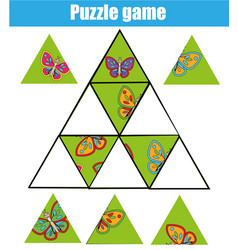 Puzzle kids activity matching children vector