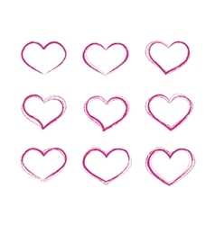 Retro scribble grunge heart symbols set vector image