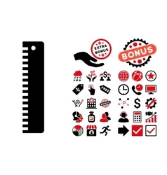 Ruler Flat Icon with Bonus vector image