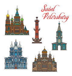 russian landmark buiding icons saint petersburg vector image