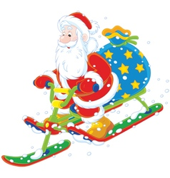Santa riding a snow scooter vector image