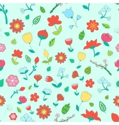 Seamless pattern color fowers vector