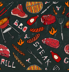 seamless pattern of summer bbq grill party steak vector image