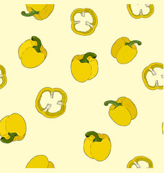 seamless pattern pepper hand drawn set vegetable vector image