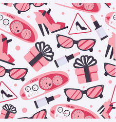 seamless pattern with pink woman goods like vector image