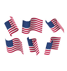 Set of 3d usa waving flag isolated on white vector