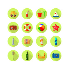 set of beach colored icons vacation vector image