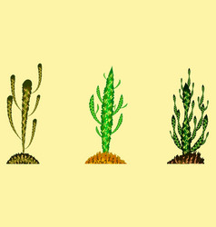 Set of cactuses in different colors vector