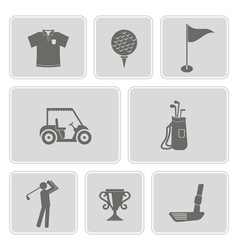 Set of monochrome with golf icons vector