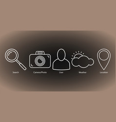 set of outline icons search cameraphoto user vector image
