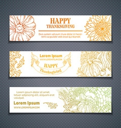 Set of outlined Thanksgiving horizontal banners vector