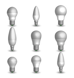 set of various led bulbs in 3d vector image