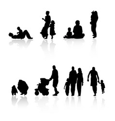 silhouette family set vector image