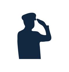 Silhouette patriotic soldier saluting icon vector