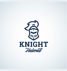 Simple line style knight helmet abstract vector
