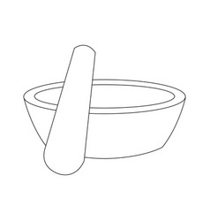 Spa wooden bowl and stick black and white vector