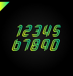 Sport font numbers set logos formed by parallel vector