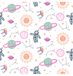stars and planets seamless pattern vector image