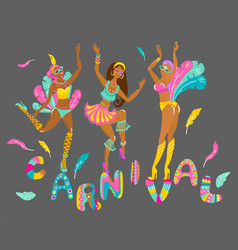three beautiful cheerful girls dancers at a vector image