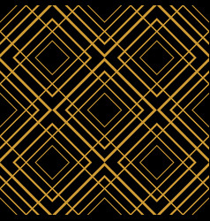 Tile pattern with golden ornament on black vector