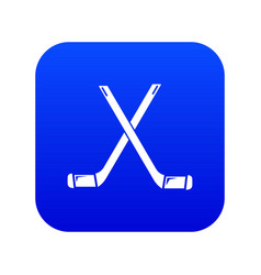 Two crossed hockey sticks icon blue vector