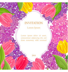 Vintage lilac and tulip flowers invitation card vector