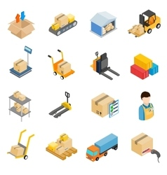Warehouse logistic storage icons set vector image vector image