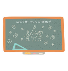welcome to our class blackboard with drawing vector image