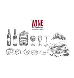 wine set hand drawn vector image