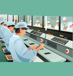 Workers working in phone assembly factory vector