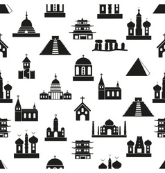 world religions types of temples icons seamless vector image
