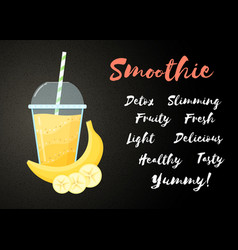 Yellow banana smoothie fruit vitamin drink banner vector