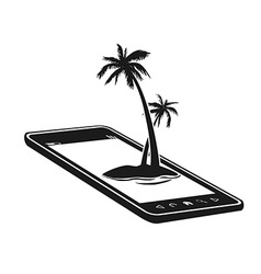 Mobile phone with palm tree island vector