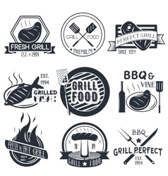 set of grill and bbq labels in vintage vector image vector image