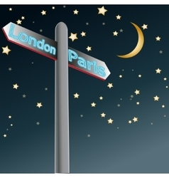 street sign showing cities - london paris sample vector image
