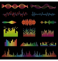 Audio signal and music waves set vector image
