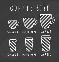 choose coffee size chalkboard style vector image vector image