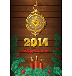Christmas Background with Clock vector image vector image
