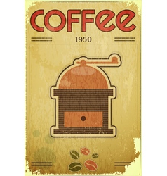 coffee mill on vintage background vector image vector image