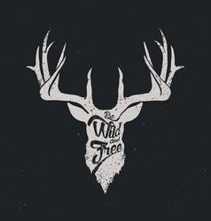 deer be wild and free invert vector image