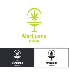 medical marijuana logo vector image vector image