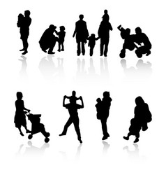 silhouette family set vector image vector image