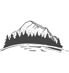 sketch of a mountains with fir forest engraving vector image
