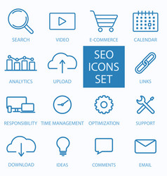 thin line seo and web optimization icon vector image