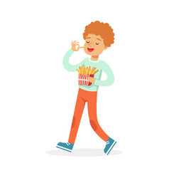 Cute happy boy eating french fries colorful vector