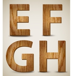 Grunge Wooden Alphabet Letters E F G H vector image vector image