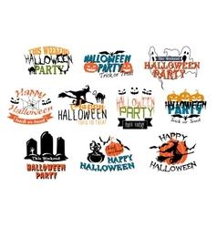 Halloween party and Happy Halloween designs vector image