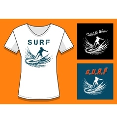 Surfing Print DesignTemplate vector image