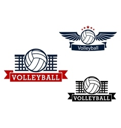 Volleyball emblems with game items vector image vector image